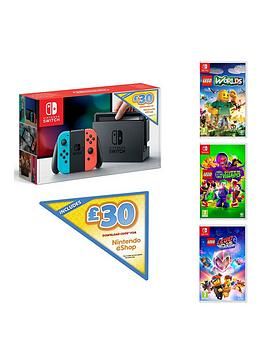 nintendo-switch-nintendo-switch-neon-console-with-30-eshop-voucher-code-and-lego-movie-2-lego-dc-super-villains-and-lego-worlds