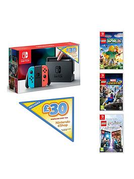 nintendo-switch-nintendo-switch-neon-console-with-30-eshop-voucher-code-and-lego-harry-potter-collection-lego-marvel-superheroes-2-and-lego-worlds