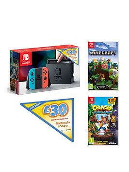 nintendo-switch-nintendo-switch-neon-console-with-30-eshop-voucher-code-and-crash-bandicoot-nsane-trilogy-and-minecraft