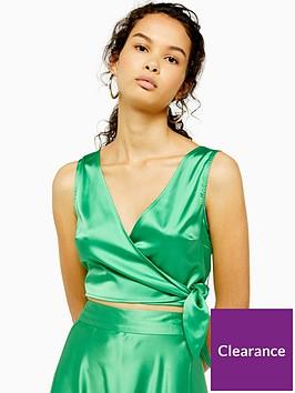 topshop-satin-tie-wrap-top-green