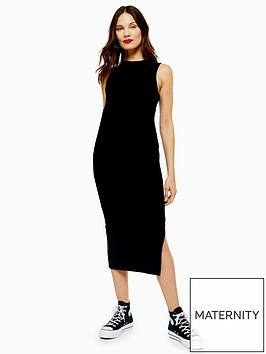 topshop-maternity-ruched-side-dress-black
