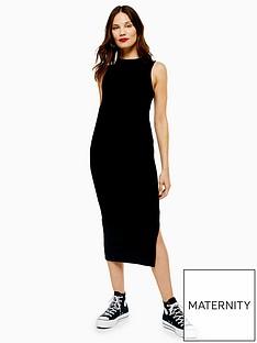topshop-topshop-maternity-ruched-side-dress-black