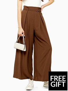 topshop-topshop-belted-wide-leg-trousers-brown
