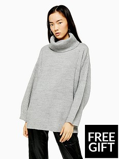 topshop-topshop-wool-mix-roll-neck-jumper-grey-marl