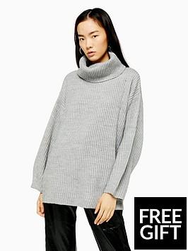 topshop-topshop-wool-mix-roll-neck-jumper-grey-marl