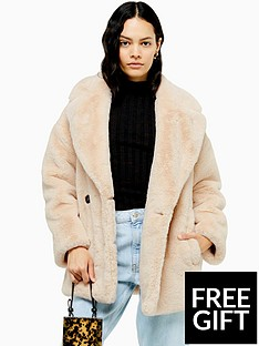 topshop-faux-fur-coat-cream
