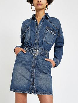 River Island River Island River Island Belted Denim Shirt Dress-Auth Picture