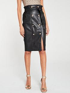 river-island-river-island-pu-button-detail-pencil-skirt-black