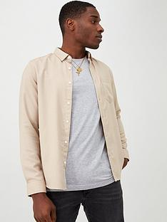 river-island-stone-slim-fit-long-sleeve-textured-shirt