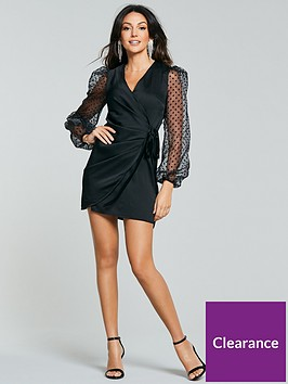 michelle-keegan-spot-organza-wrap-dress-black