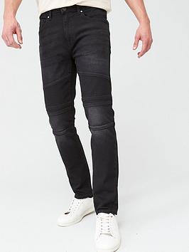 V by Very V By Very Slim Black Biker Jeans - Black Picture