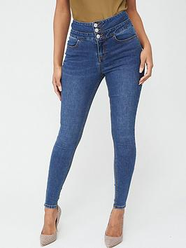V by Very V By Very Macy High Waisted Skinny Jeans - Mid Wash Picture