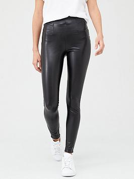 V by Very V By Very High Waisted Faux Leather Leggings - Black Picture