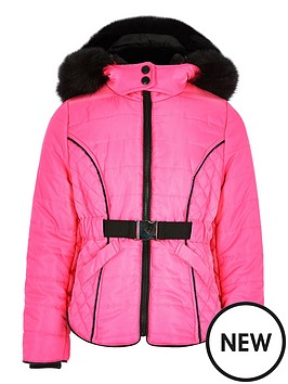 river-island-girls-neon-faux-fur-lined-padded-coat-pink
