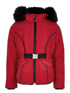 river-island-girls-faux-fur-hood-belted-padded-coat-red