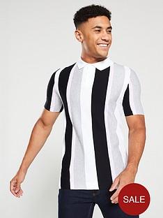 river-island-white-slim-fit-stripe-knit-polo-shirt
