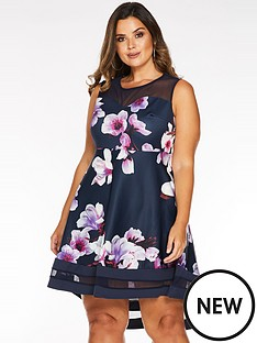 quiz-curve-curve-floral-dip-hem-mesh-dress-navy