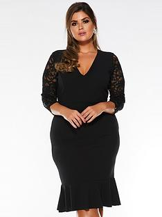 quiz-curve-curve-v-neck-lacenbspthree-quarter-sleeve-frill-midi-dress-black