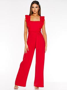 quiz-frill-sleeve-palazzo-jumpsuit-red