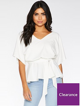 quiz-scuba-crepe-double-v-batwing-tie-belt-peplum-top-cream