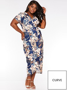 quiz-curve-curve-floral-chain-wrap-dress-navygoldcream
