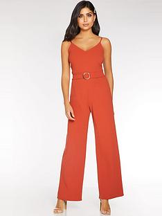 quiz-v-neck-tortoise-shell-buckle-detail-palazzo-leg-jumpsuit-rust