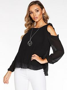 quiz-cold-shouldernbsplong-sleeve-pleated-top-with-necklace-black