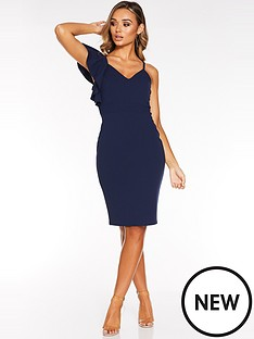 quiz-scuba-crepe-frill-strap-v-neck-midi-dress-navy
