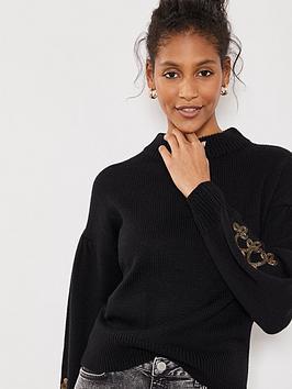 mint-velvet-military-sleeve-detail-knit-jumper-black