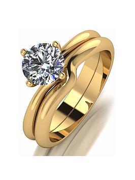 Moissanite Moissanite Moissanite 9Ct Gold 1Ct Eq Solitaire Bridal Set Picture