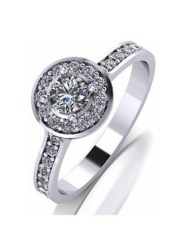 Love DIAMOND Love Diamond Platinum 1/2Ct Diamond Solitaire Halo Ring Picture