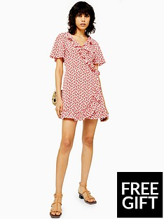 topshop-topshop-tall-ruffle-wrap-mini-dress-red