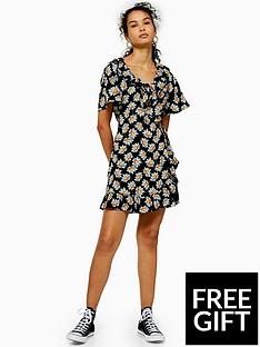 topshop-ruffle-wrap-mini-dress-black
