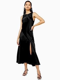 topshop-sleeveless-split-front-occasion-midi-dress-black