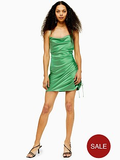 topshop-petite-satin-ruched-mini-slip-dress-green