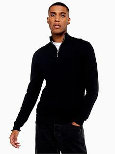 topman-topman-half-zip-knitted-jumper-black