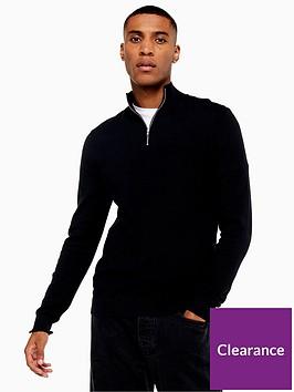 topman-topman-half-zip-knitted-jumper-black