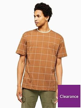 topman-topman-window-pane-check-t-shirt-brown