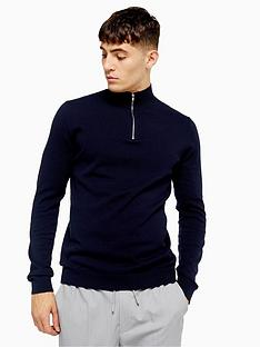 topman-topman-half-zip-knitted-jumper-navy
