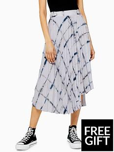 topshop-topshop-grid-tie-dye-pleated-midi-skirt-grey