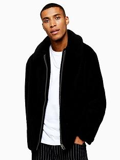 topman-topman-teddy-faux-fur-jacket-black