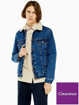 topman-topman-mid-wash-borg-denim-jacket-blue