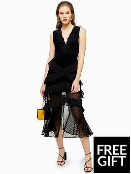 topshop-topshop-dobby-trim-midi-dress-black