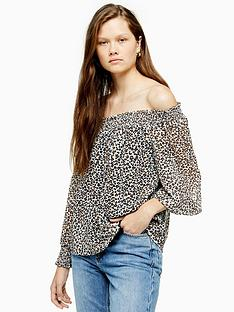 topshop-topshop-leopard-print-shirred-bardot-top-brown