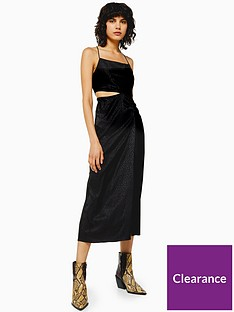 topshop-jacquard-cut-out-midi-dress-black