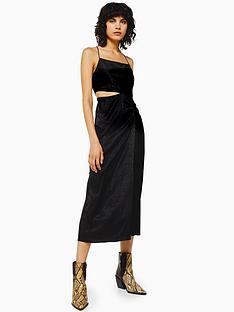 topshop-topshop-jacquard-cut-out-midi-dress-black