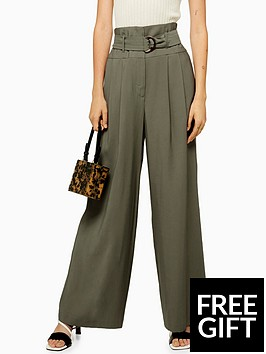 topshop-topshop-twill-wide-leg-trousers-khaki