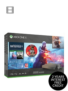 xbox-one-x-xbox-one-x-gold-rush-special-edition-battlefield-v-bundle-1tb-apex-legends-founders-pack-with-optional-extras
