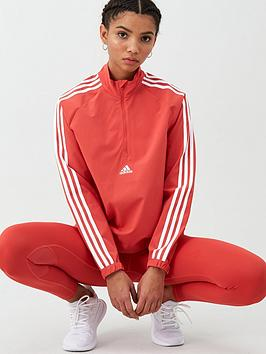 Adidas   Woven 3 Stripe 1/2 Zip - Red