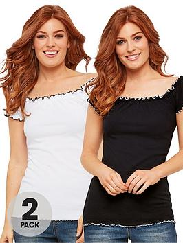 Joe Browns Joe Browns All New 2 Pack Gypsy Top - White Black Picture